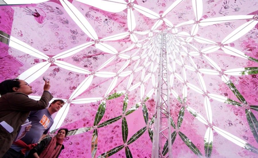 Conic shaped PVC mesh canopy