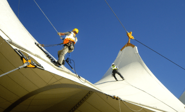 Rope access Maintenance for tensile fabric structure