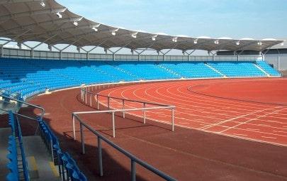 Fabric canopies covering stadium seating