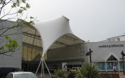 PTFE entrance canopy providing weather protection