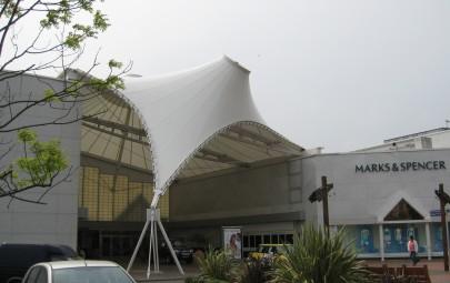 PTFE entrance canopy providing weather protection