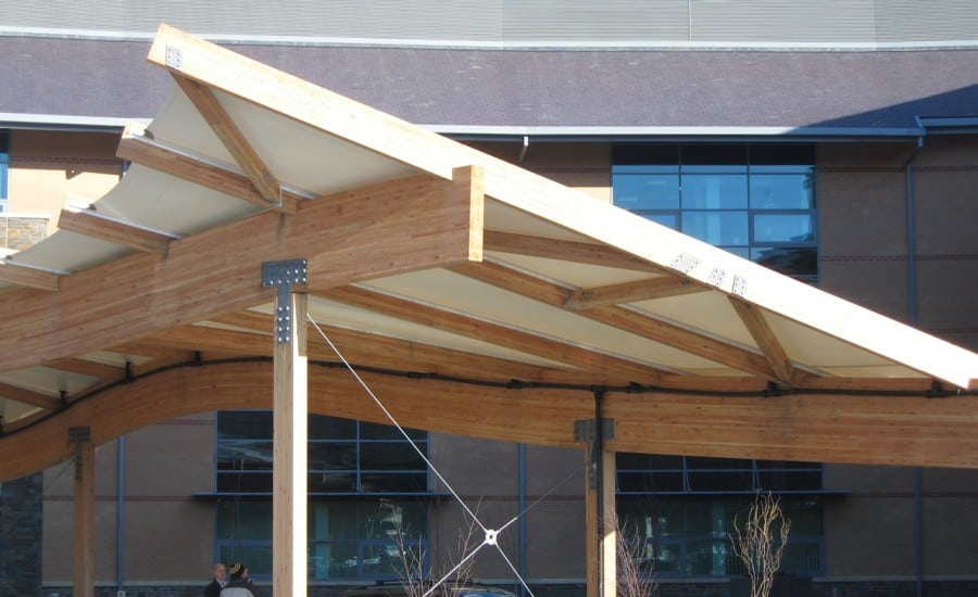 Fabric entrance canopy shelter