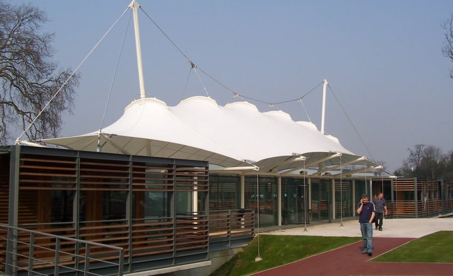 Bespoke white tensile fabric entrance canopy
