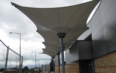 Conjoined PVC inverted umbrella canopies