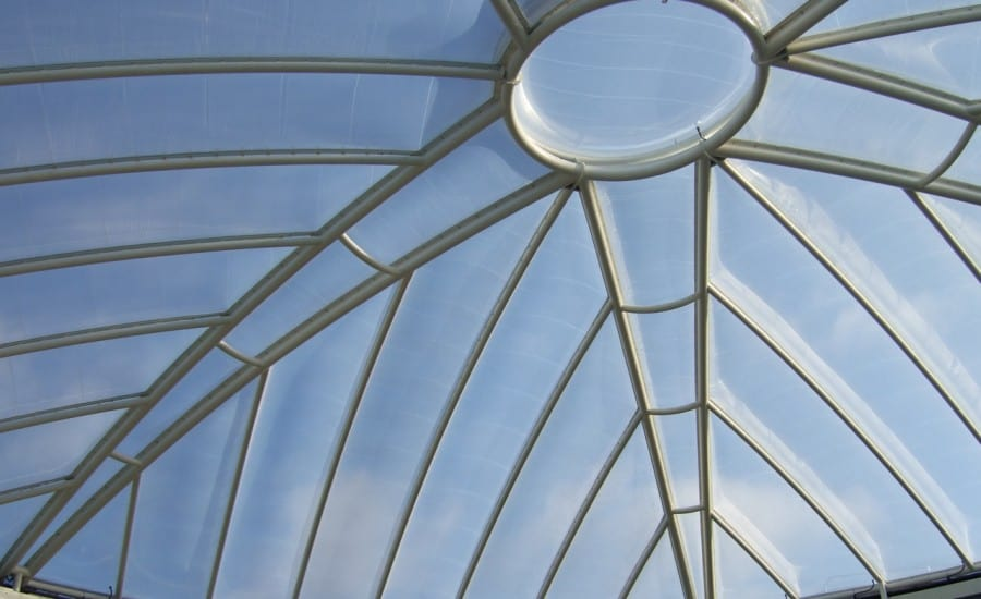 Fritted ETFE cushion roof