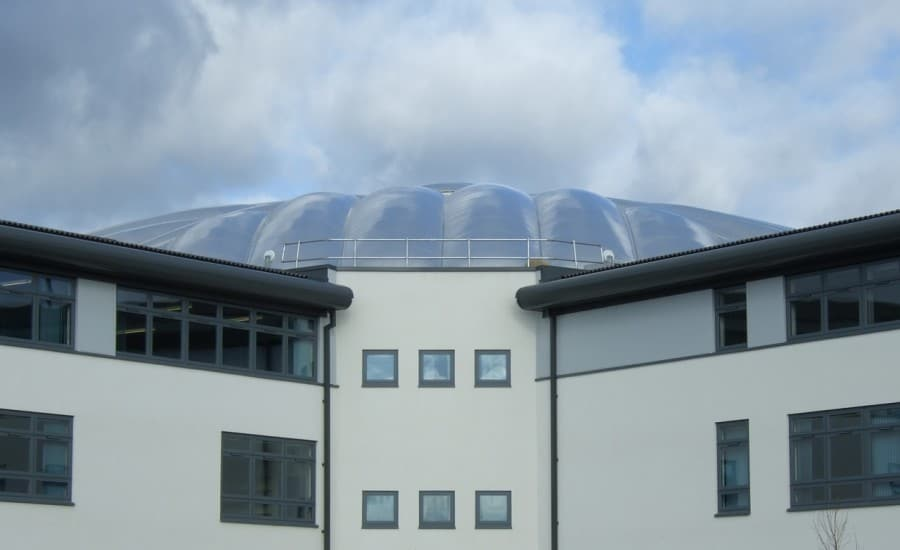 Domed fabric roof over school