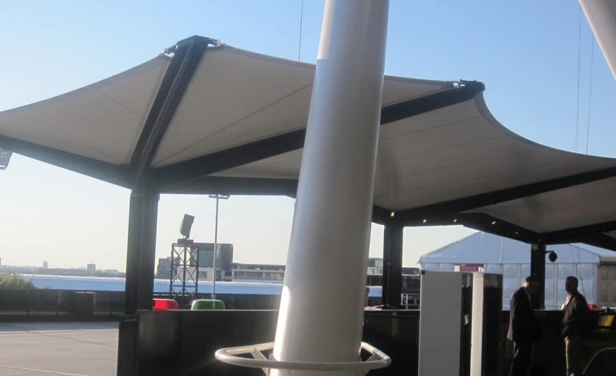 PVC canopies over stairwell