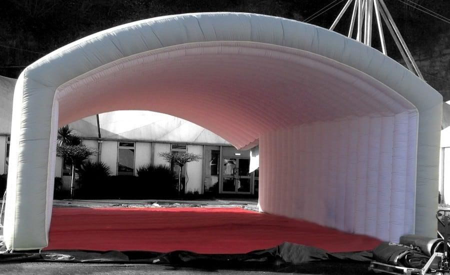 Tensile fabric inflatable walkway