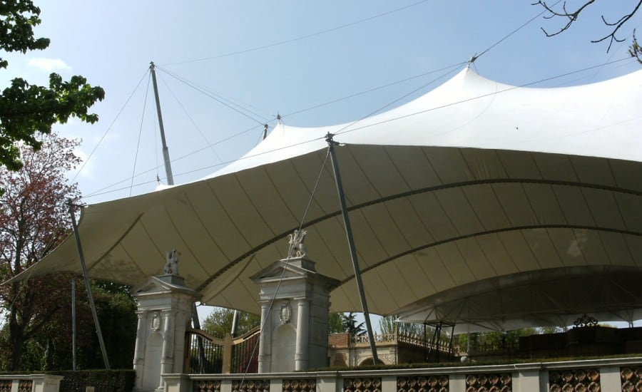 Fabric canopy with peaks