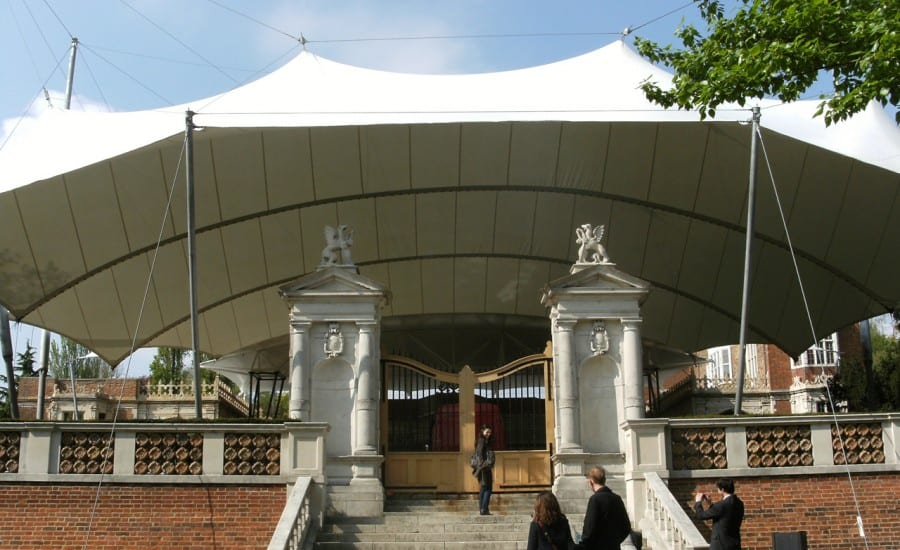 Large fabric canopy covering opera venue