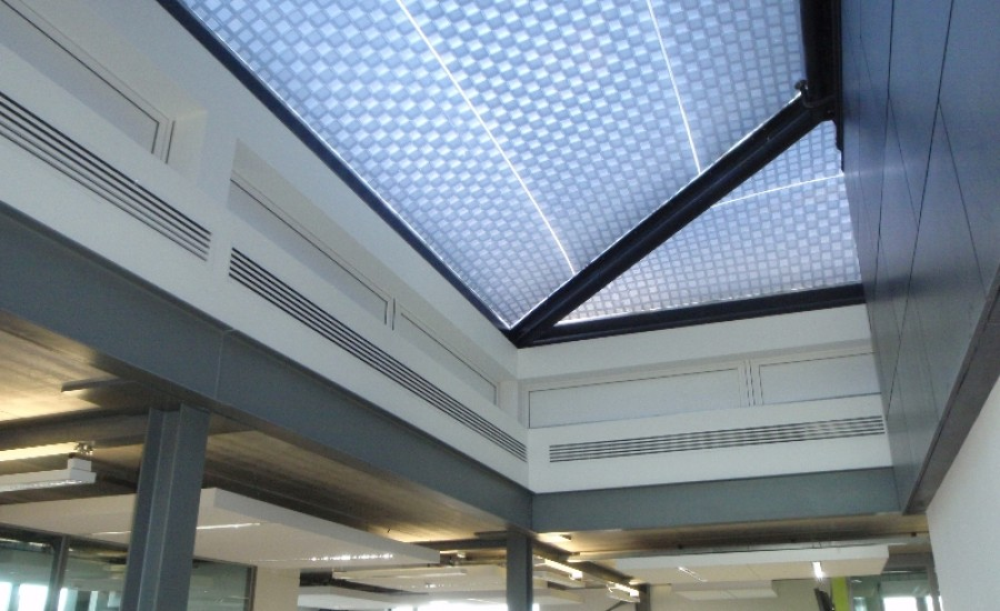Patterned fabric skylight at Lancaster university
