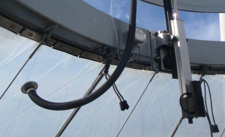 Close up of ETFE ventilation actuator