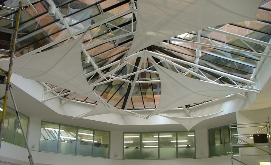 Interior fabric solar shades for offices