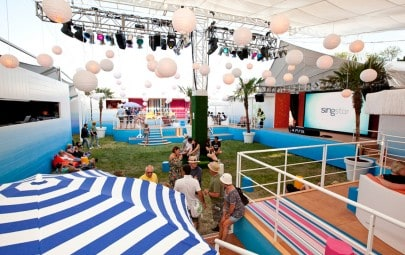 Translucent retractable fabric canopy for festival