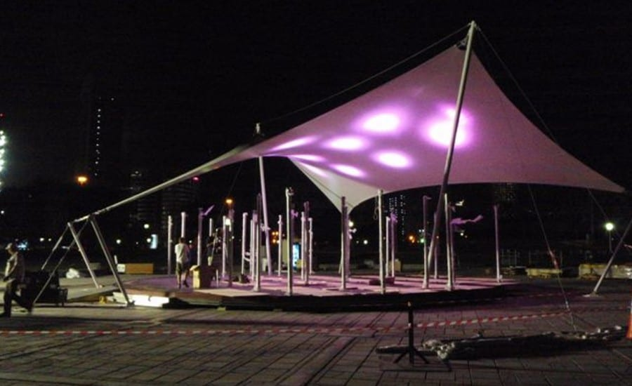 Printed fabric sail with LED lighting