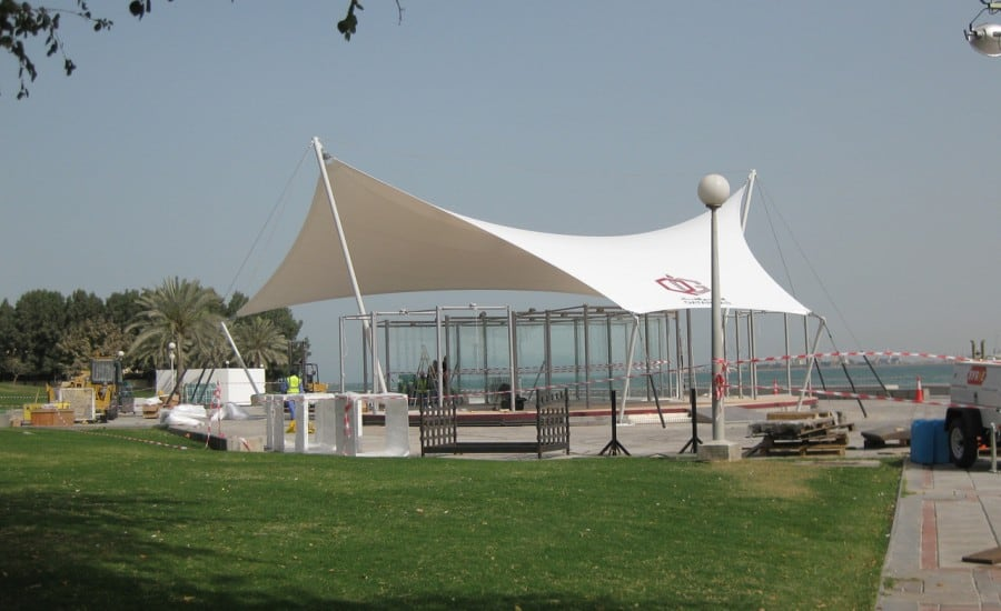 Tensioned fabric temporary structure