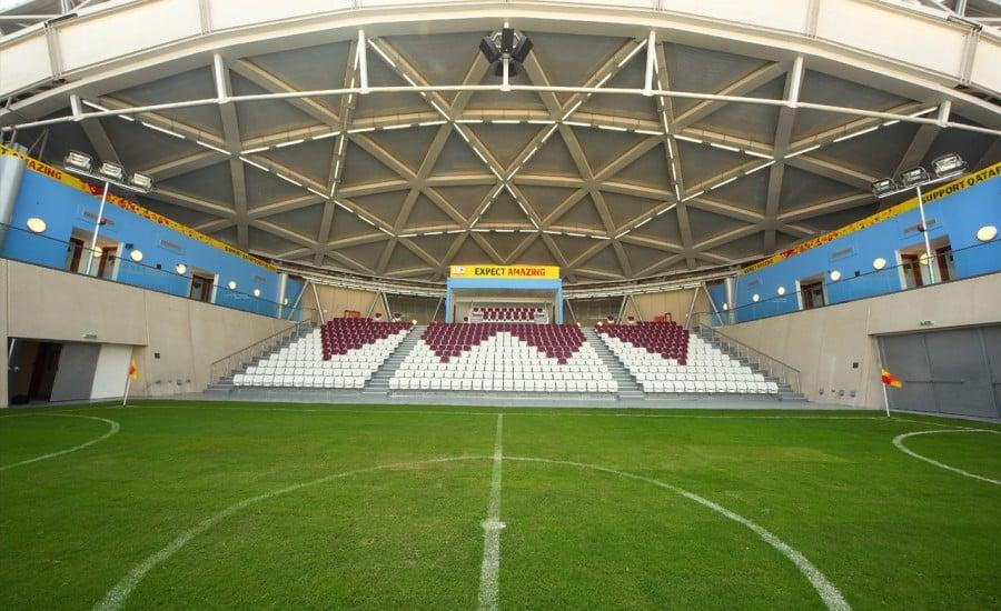 Fabric canopy roof over football stadium