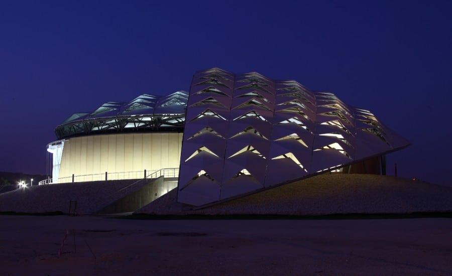Unique fabric roof covering stadium