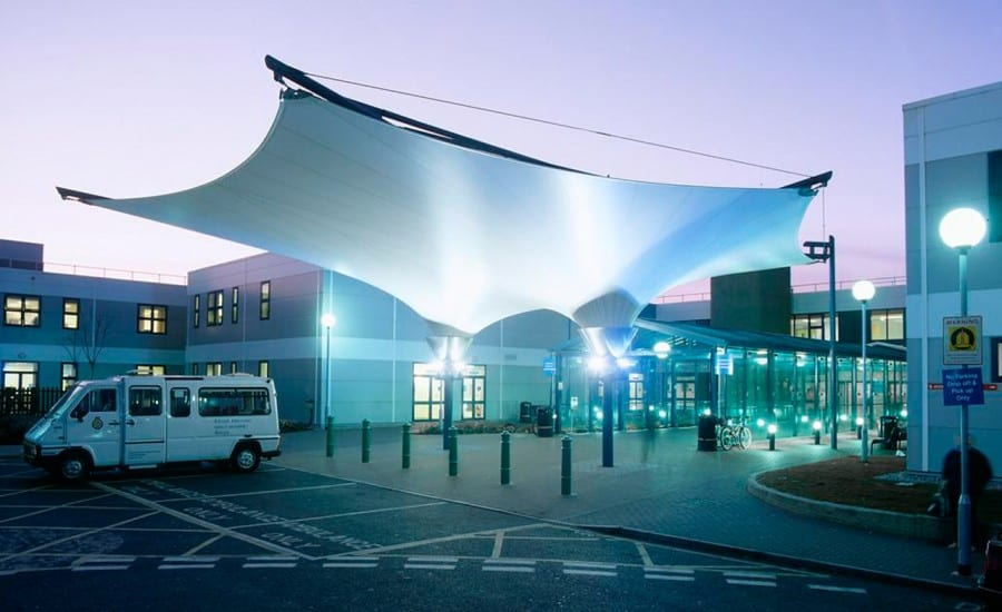 Inverted conic canopy for hospital