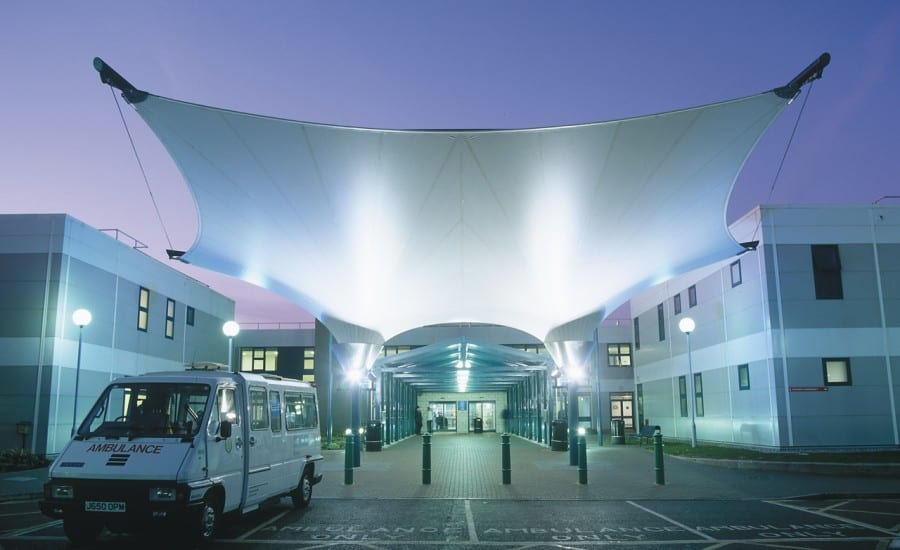 Lit fabric entrance canopy to hospital