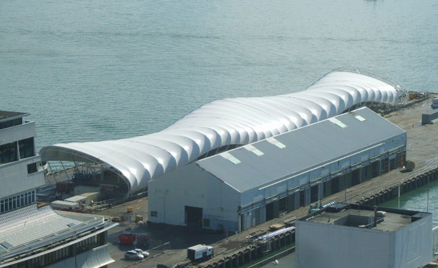 Unusual shape tensile fabric roof