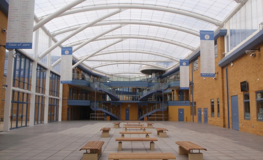 ETFE single skin roof over school courtyard