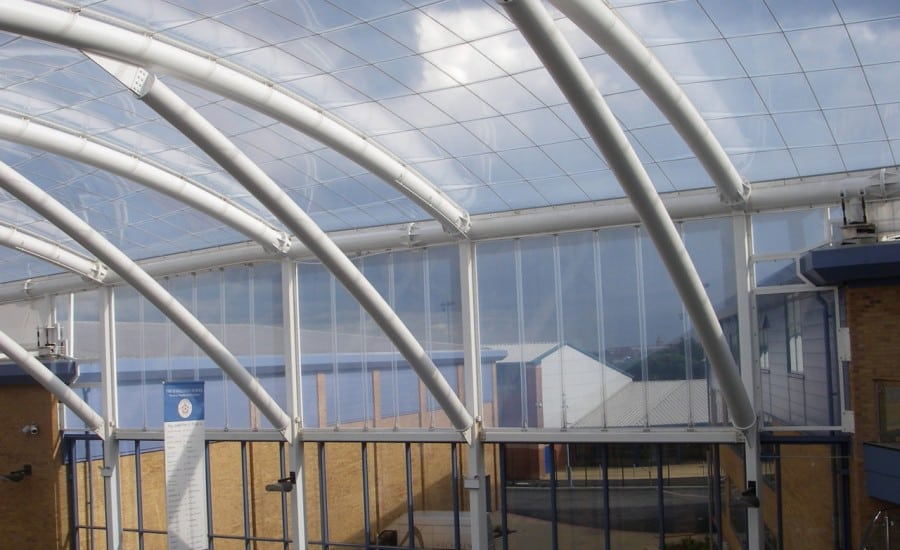 Naturally lit ETFE roof over school space