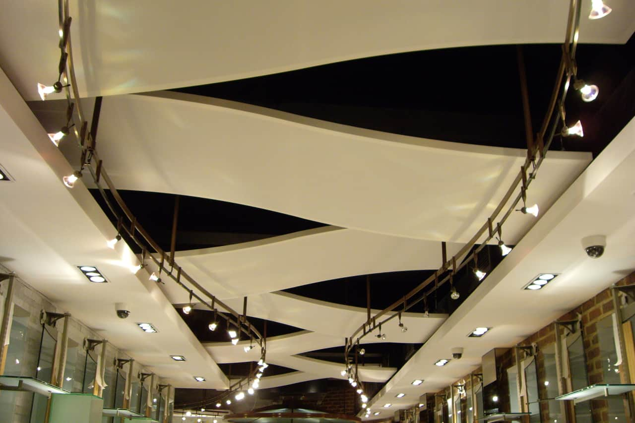 Retail store ceiling panels covent garden architen landrell for Shop ceiling design