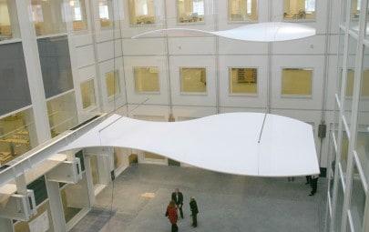 Interior curved fabric panels