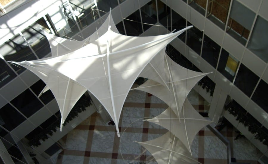 Fabric hypars in office building