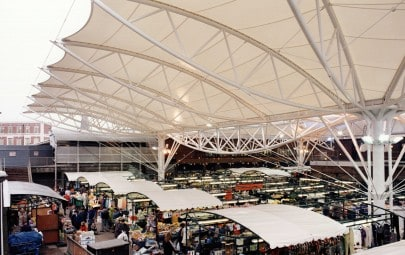 Fabric canopy  protecting market place