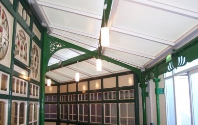 Fabric panels in theatre roof