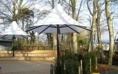 Fabric umbrellas for architectural feature