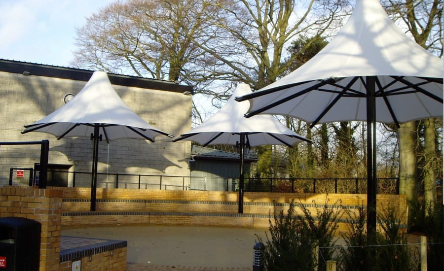 Performance area covered by fabric umbrella canopies