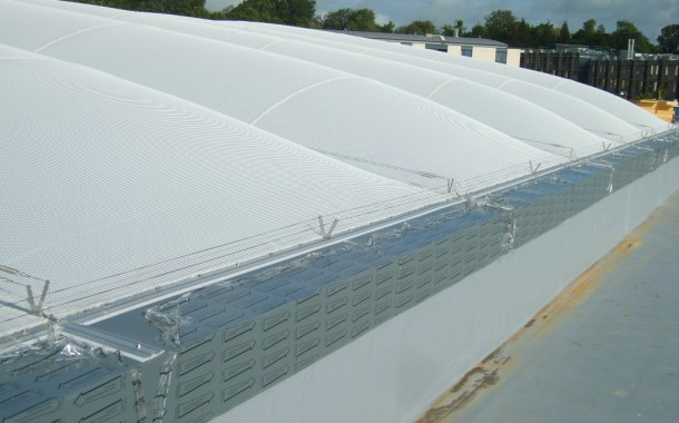 ETFE Cushion with acoustic rain suppression layer