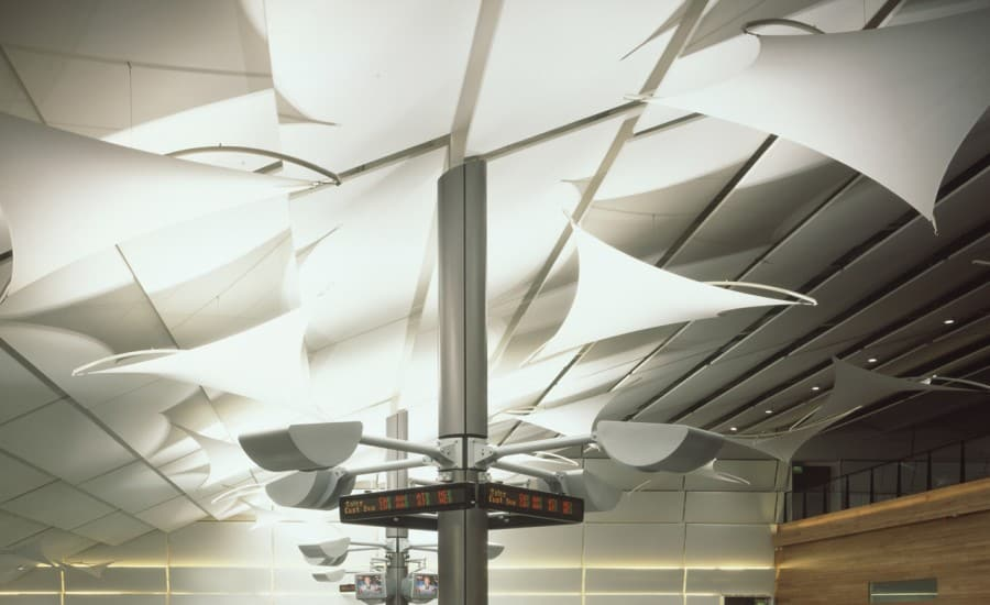 Interior fabric structures and lighting