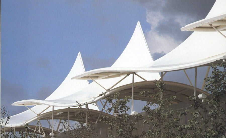 Tensile fabric sail canopies