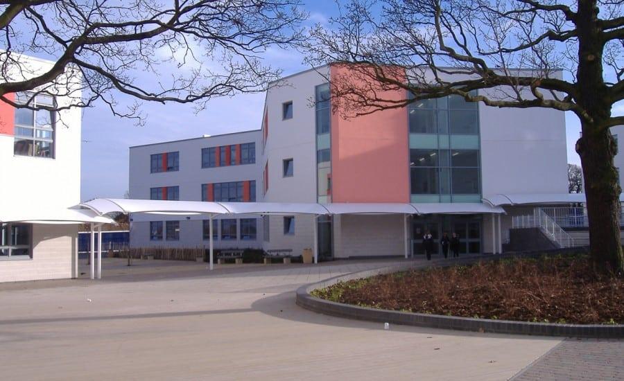 Shaded walkway in school