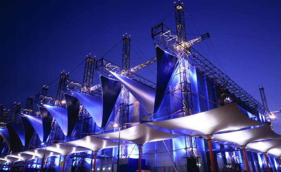 Tensile Fabric Structures lit at night