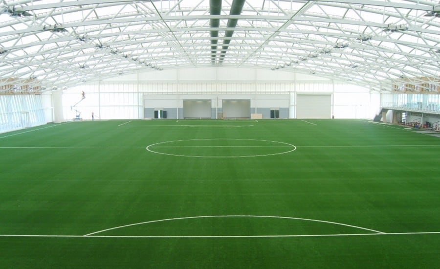 Large scale PVC roof over football pitch