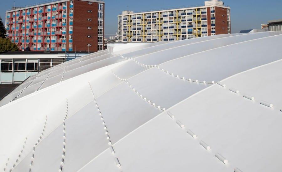 PVC tensile roof covering school buildings
