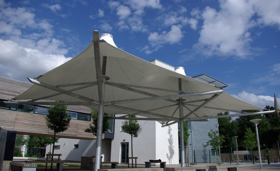 Tensile canopies for use in school playground