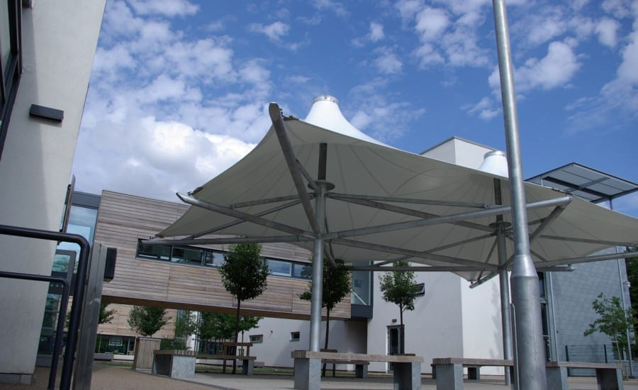 Double conic fabric canopies