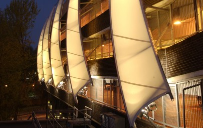 Tensile fabric feature sails for car park
