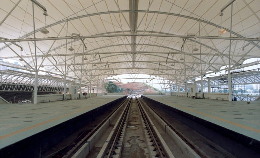 Railway station covered by large fabric roof