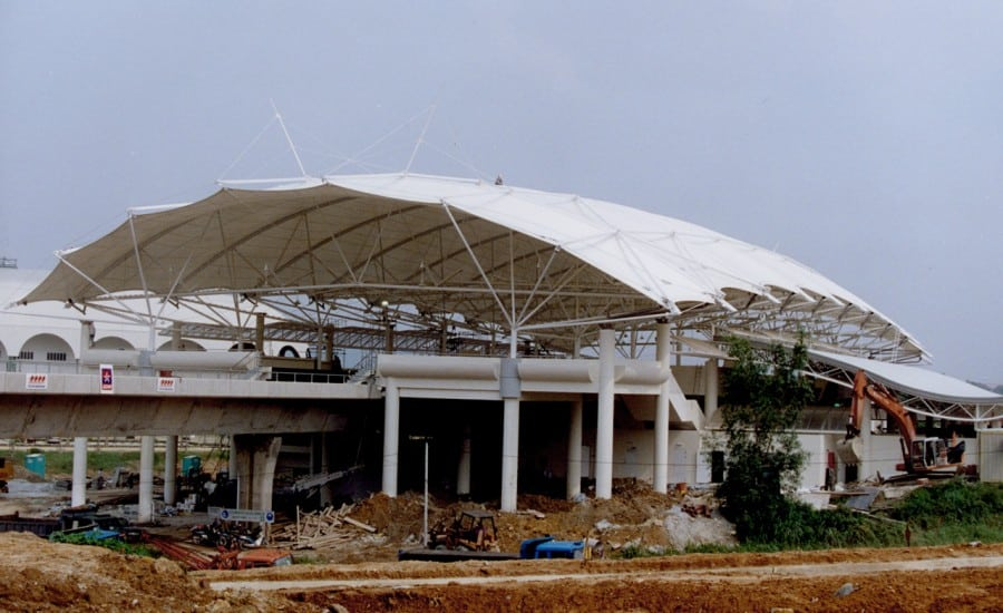 Large PVC canopy covering railway station