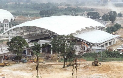 PVC canopy over railway platforms