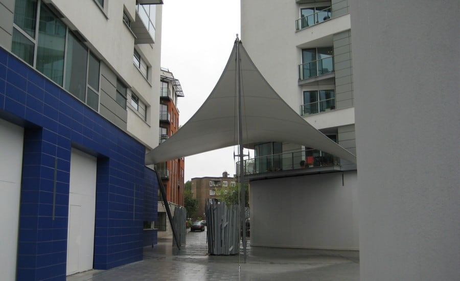 Sculptural fabric entrance canopy