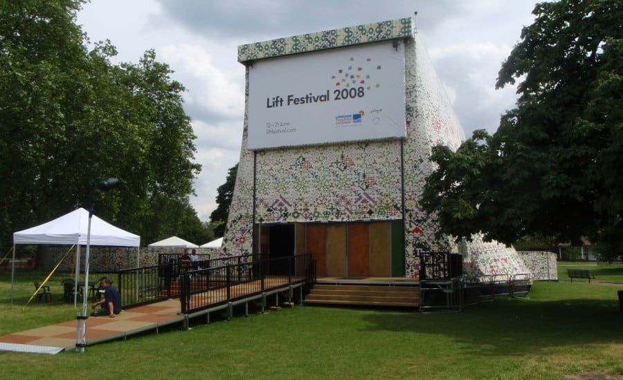 Printed tensile fabric festival stage