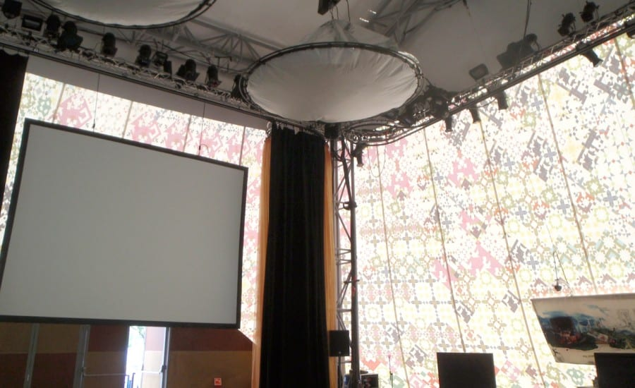 Colourful tensile fabric perfermance space